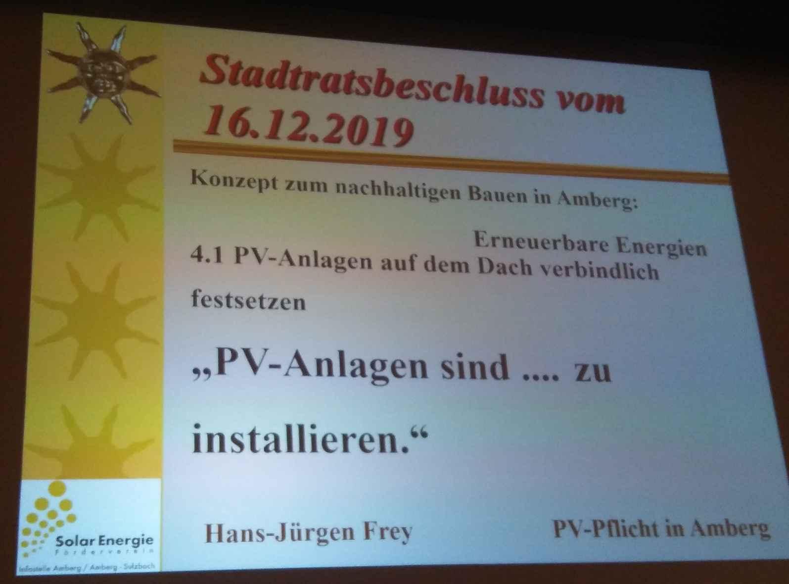 """... und begründen die """"Solare Baupflicht"""" ...wie in Amberg/Opf."""
