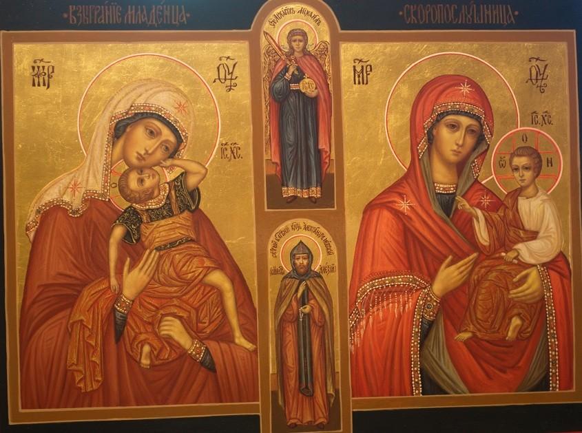 Образы Пресятой Богородицы Скоропослушница и Взыграние младенца. Домашняя икона.