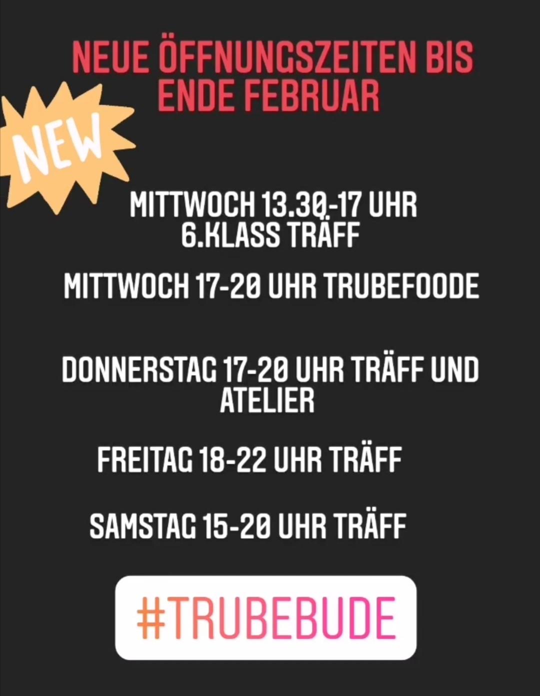 Neue Öffnungszeiten Januar und Februar!