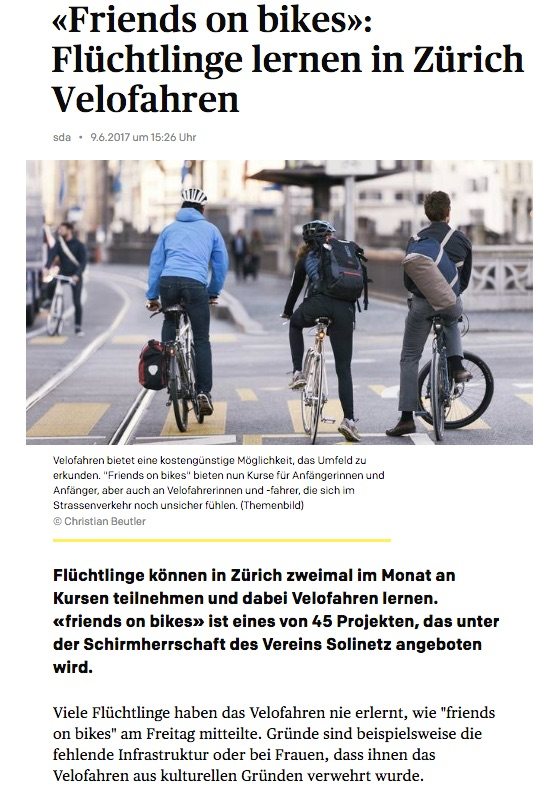 friends on bikes Limmattaler Zeitung