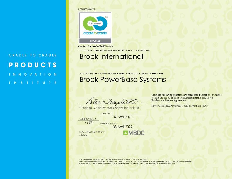 Brock-Fallschutz-Unterbau für Teppichvlies mit Cradle to Cradle Zertifizierung