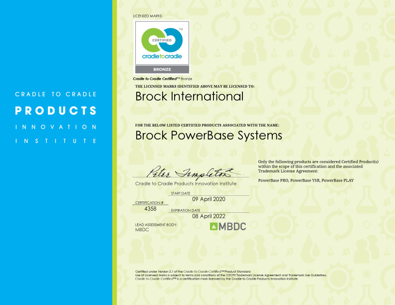 Brock-Fallschutz für Teppichvliesbelag mit nachhaltiger Cradle to Cradle Zertifizierung