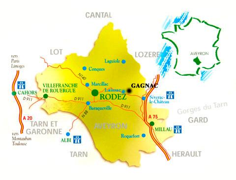 Carte de l'Aveyron avec voies routières principales et repère pour Gagnac 12310