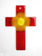 Glas Kreuz Glaskreuz Heller Schein mit Sonne Wandkreuz