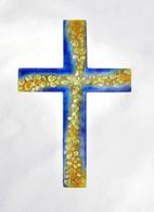Glas Kreuz Wandkreuz Glaskiesel Glaskreuz