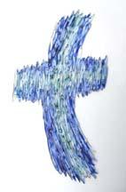 Glas Kreuz Glaskreuz Wandkreuz gebogene Stäbe
