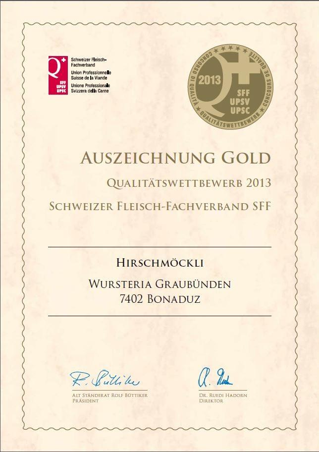 Goldmedallie  Hirschmöckli 2013