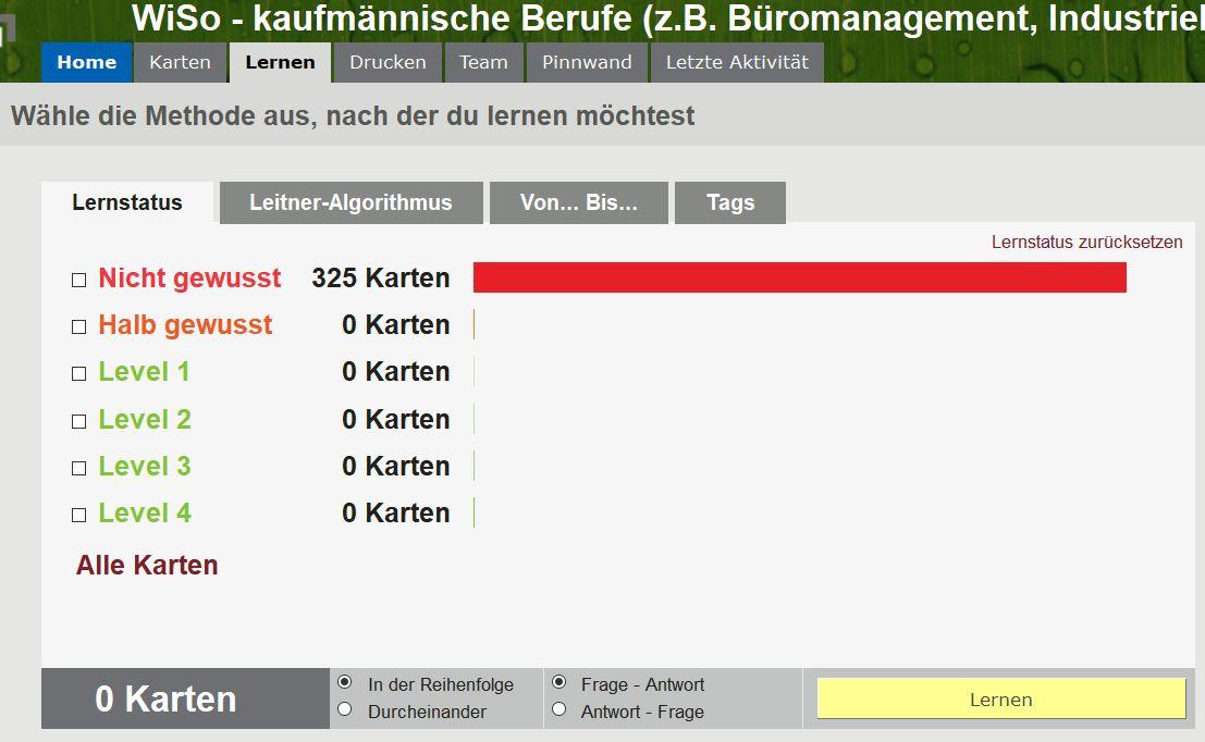 """Ihre Karten in der Browser/Web-Version (hier sehen Sie: """"Lernmodus wählen"""")"""