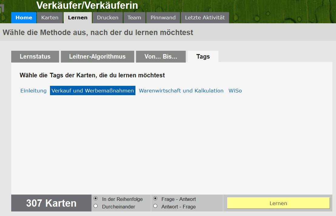 """Ihre Karten in der Browser/Web-Version (hier sehen Sie den Lernmodus """"Lernen nach Tags"""", also nach Fächern)"""
