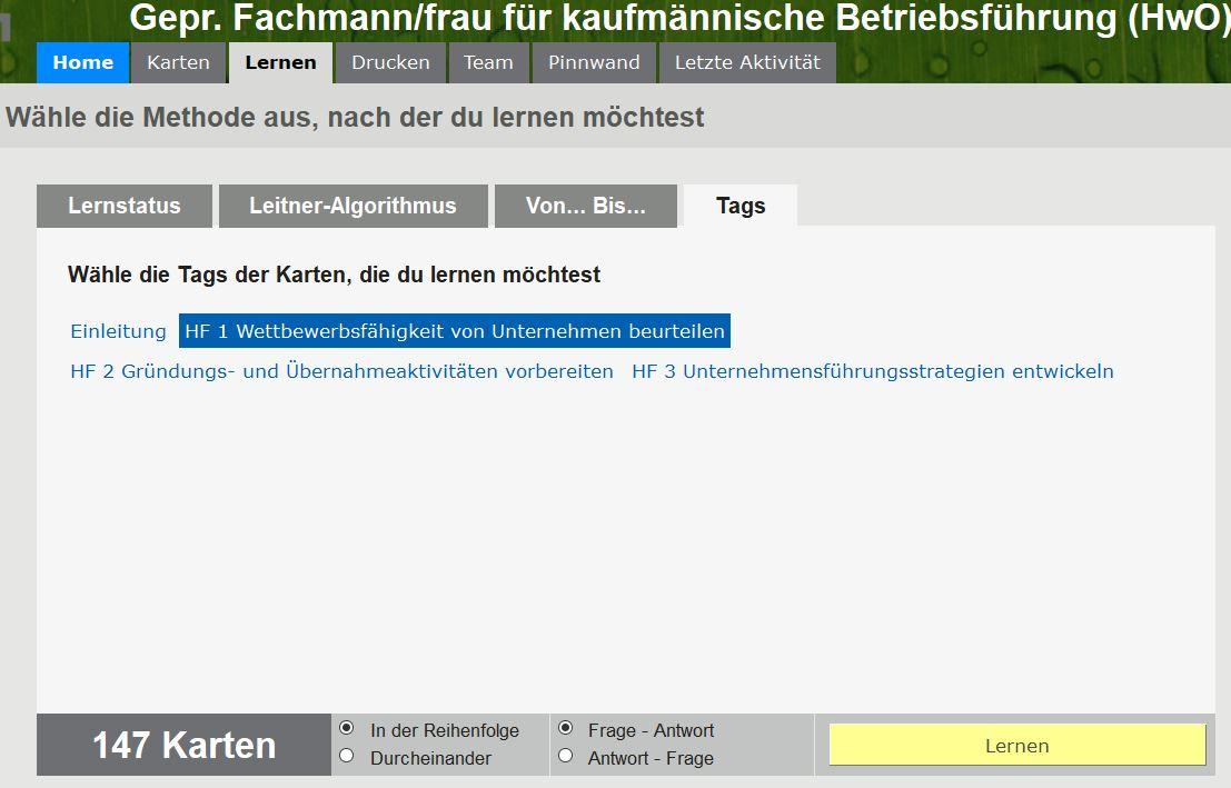 """Ihre Karten in der Browser/Web-Version (hier sehen Sie den Lernmodus """"Lernen nach Tags"""", also nach """"Fächern"""")"""
