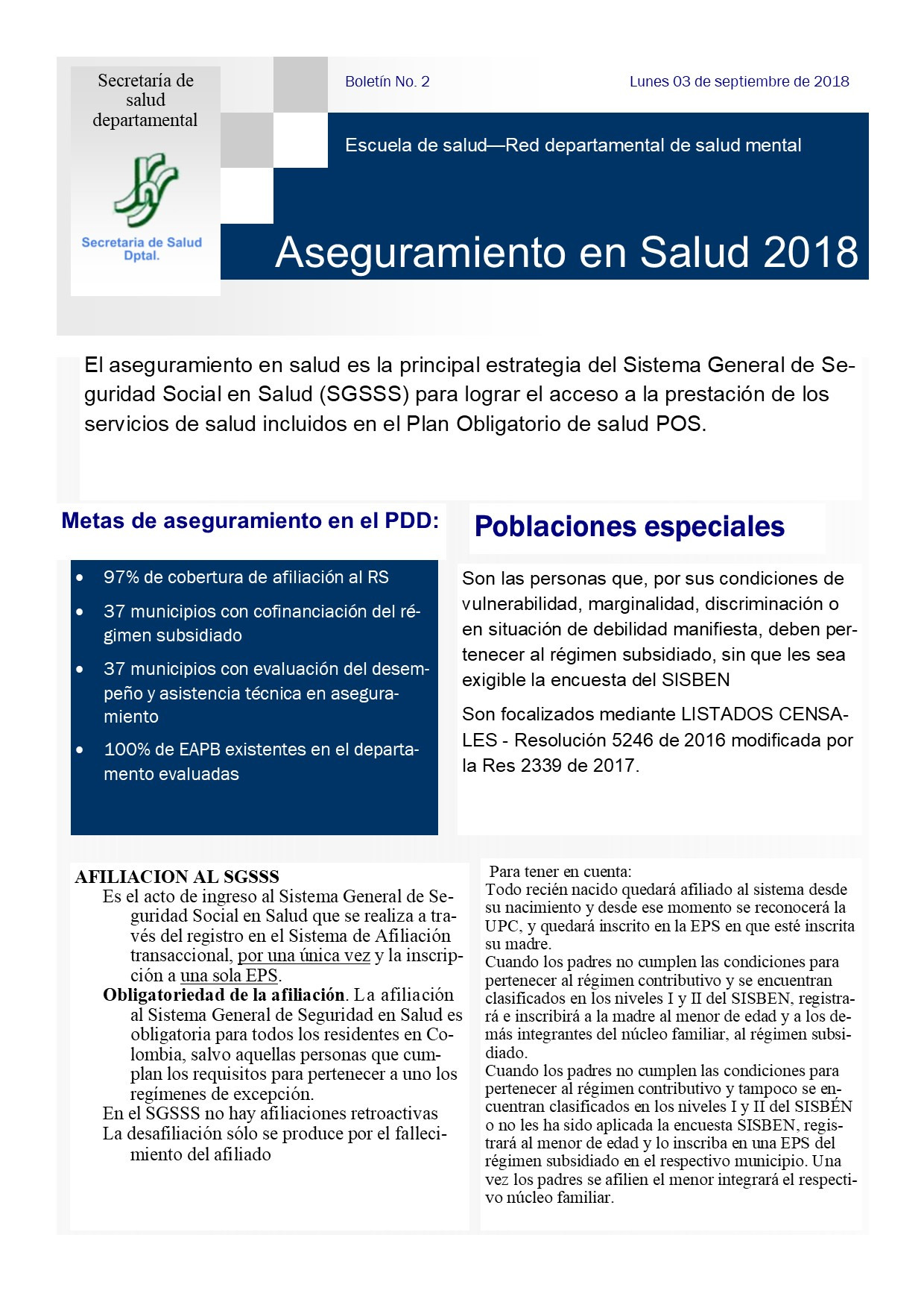 Boletín No. 2 de la Escuela de formación en Salud.