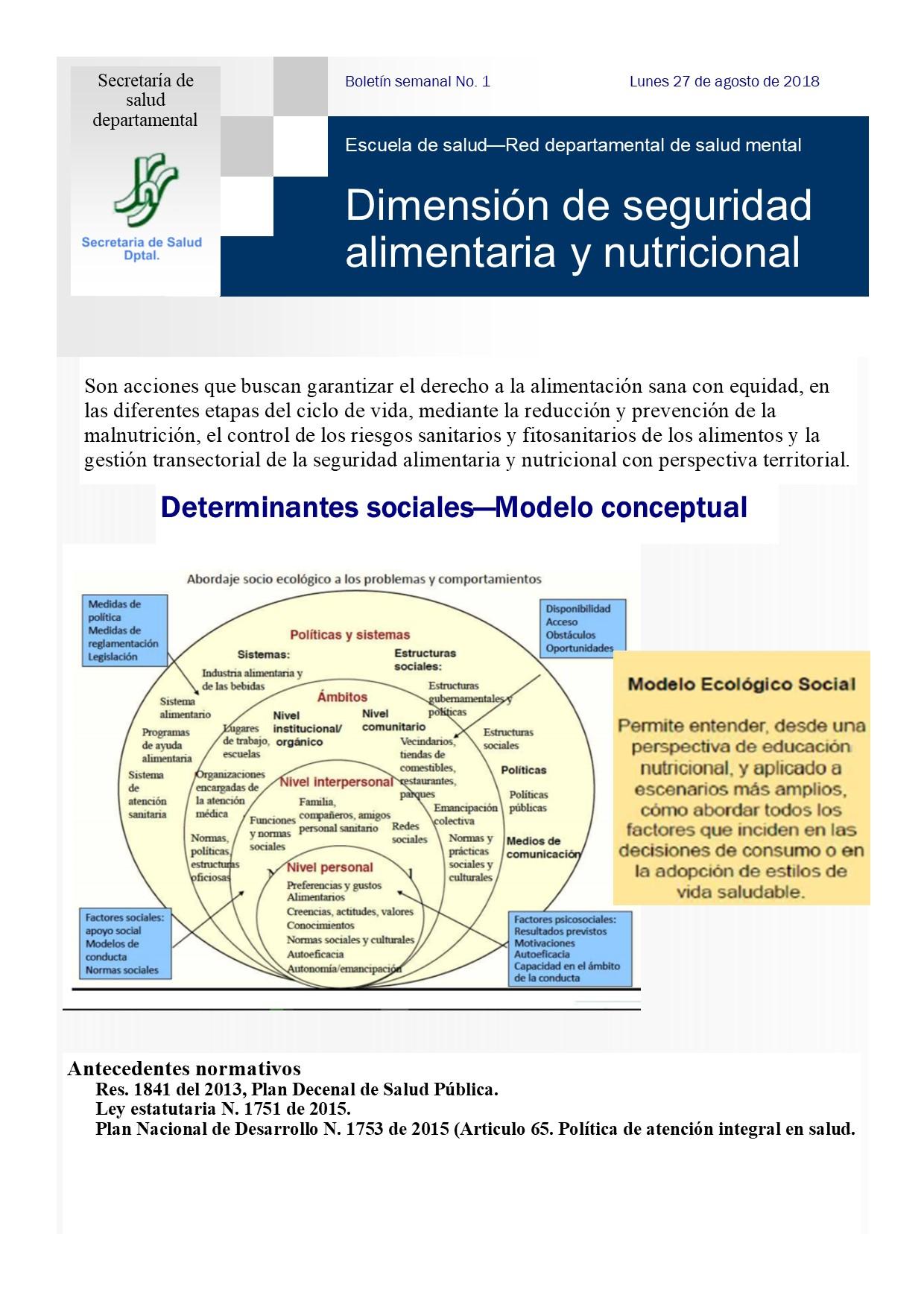 Boletín No. 1 de la Escuela de formación en Salud.