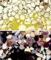 Abb: Dünnschliffaufnahme von einem Sandstein mit hoher Porosität und geringer Verkittung in polarisiertem Licht. Gelb eingefärbt: offener, nicht zementierter Porenraum, weiß: Korngerüst des quarzitischen Sandsteins. Mikrophotogr.: Dr. Baermann & Partner