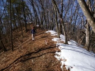 10:50 稜線上には雪が残っていた
