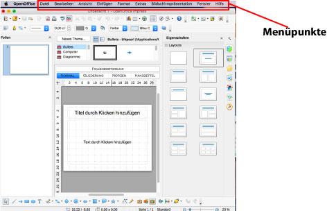 Abbildung: Die Menüpunkte in OpenOffice