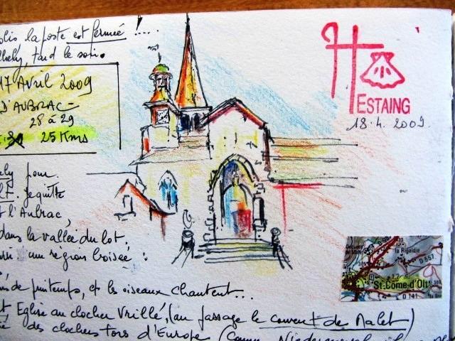 Chemin de Compostelle, voie du Puy : près de St-Côme-d'Olt, Espalion