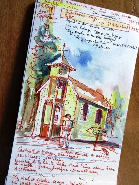 """Chemin de Compostelle, voie du Puy : village de """"St-bresson"""" haute-saône"""