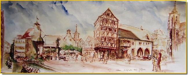 Aquarelle Alsace : Colmar, kaleïdoscope des petits morceaux d'une très belle ville.