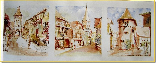 Aquarelle Alsace : Ammerschwhir, La Porte Haute, La Tour des Bourgeois et des Voleurs