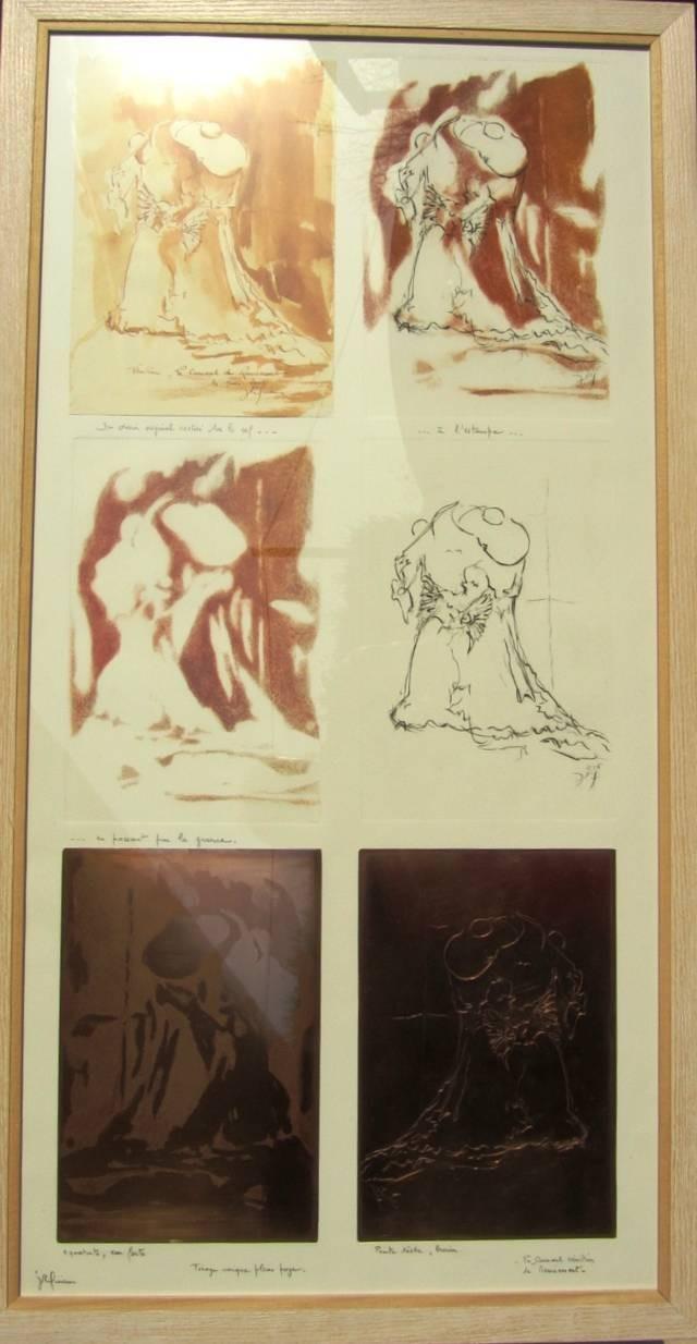 Gravure: Ce tableau regroupe les 2 plaques de cuivre gravées ayant servi à l'impression des 2 images  séparées(le dessin et le fond) ,de l'estampe complète sur la même feuille de vélin.