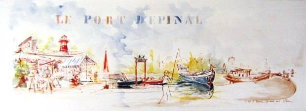 Aquarelle d'u port d'Épinal