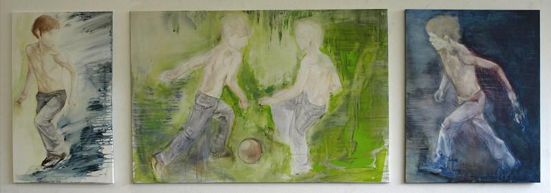 Triptychon *  Acryl auf Baumwollgewebe * (60 x 150 x 80) x 100 cm * 2008