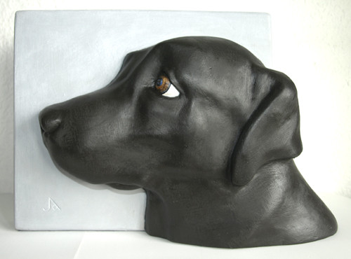 hundeportrait gips relief