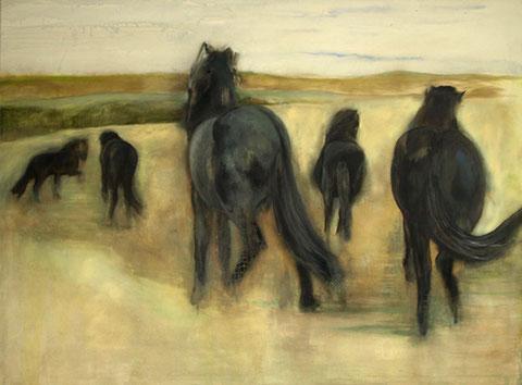 Fünf Pferde, Mischtechnik auf Leinwand, 150 x 200 cm, 2008