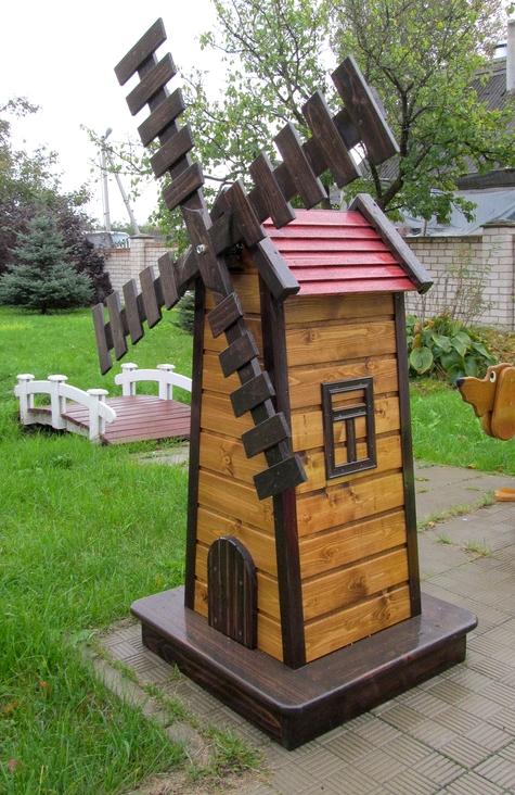 мельница садовая деревянная декоративная