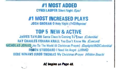 "Radio & Records, December 17th 2004. ""Joy to the World (A Christmas Prayer)"" in the Top 5 New & Active."