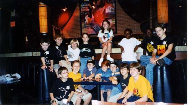 Nick gathers with Zachary Grill, Adam Casner, Kristin Klabunde, Gerard Canonico, Dennis Hall and other Broadway kids in 2002 - credit nicholasjonas.com