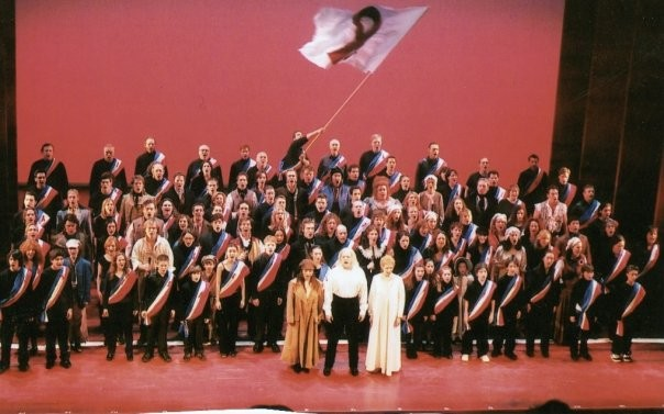 Past and Present cast members of Les Misérables perform at their final BC/EFA event, the 2002 Gypsy of the Year. Nick in black, front row, tiniest one in the left group. December 10th, 2002. Credit BC/EFA