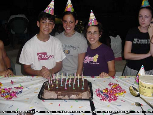 Celebrating his birthday with friends.
