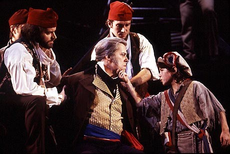 Nicholas as Gavroche and Terrence Mann as Javert, Little People 2003 - credit Broadway