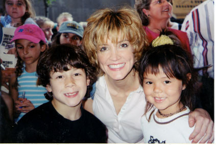 Nicholas and Maya with Crystal Bernard (Annie). July 22nd, 2001. - credit nicholasjonas.com