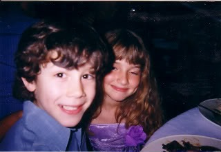 Adorable little Nick with a friend. We're supposing it's a castmate, from around this time. Any info, source, credit, do tell!