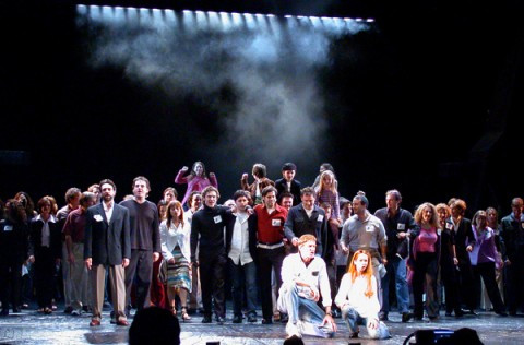 The original and final casts rehearse for the final performance encore (Nick is in the center, brown coat) May 17th 2003
