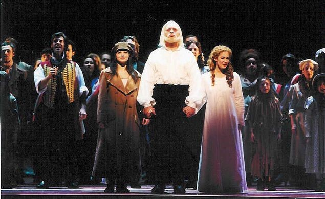 Past and Present cast members of Les Misérables perform at their final BC/EFA event, the 2002 Gypsy of the Year. The other performance, Nick in costume on the far left. December 9th 2002. Credit BC/EFA
