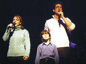 "Nicholas, Sarah Litzsinger, and Christopher Seiber lead the cast of Beauty and the Beast in ""Someday"" at the 2001 Gypsy of the Year. Credit BC/EFA"