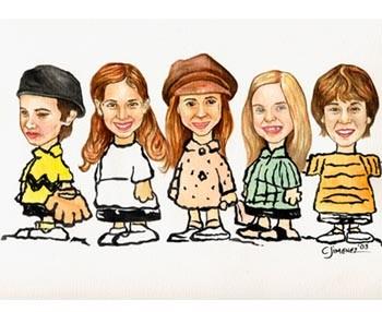 Characature of the 2003 Les Mis Kids L-R Andrew Hoeft, Christiana Anbri, Kristin Klabunde, Alexandra Sullivan, Nicholas Jonas (by Christine Jimenez)