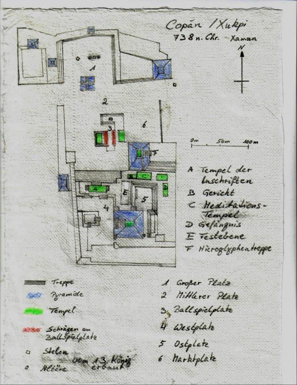 Grundriss  der Akropolis in Copán, Maya-Hochkultur