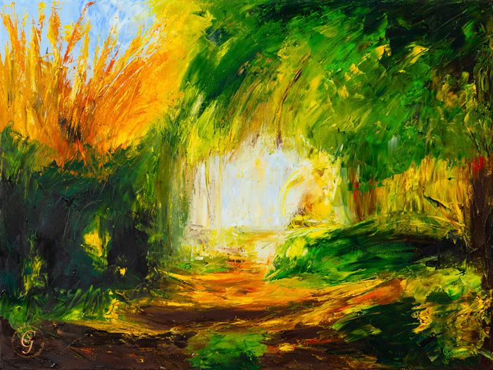 Zauberwald abstrakt, 80x60 cm, Öl auf Leinwand