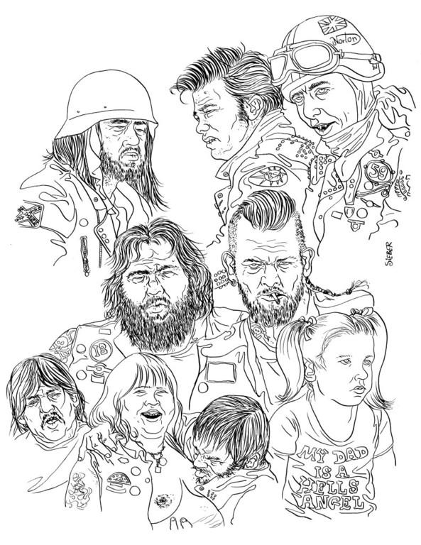 Zeichnung 398  Rocker Studien  Tusche auf Karton,2010, 30 x 40 cm