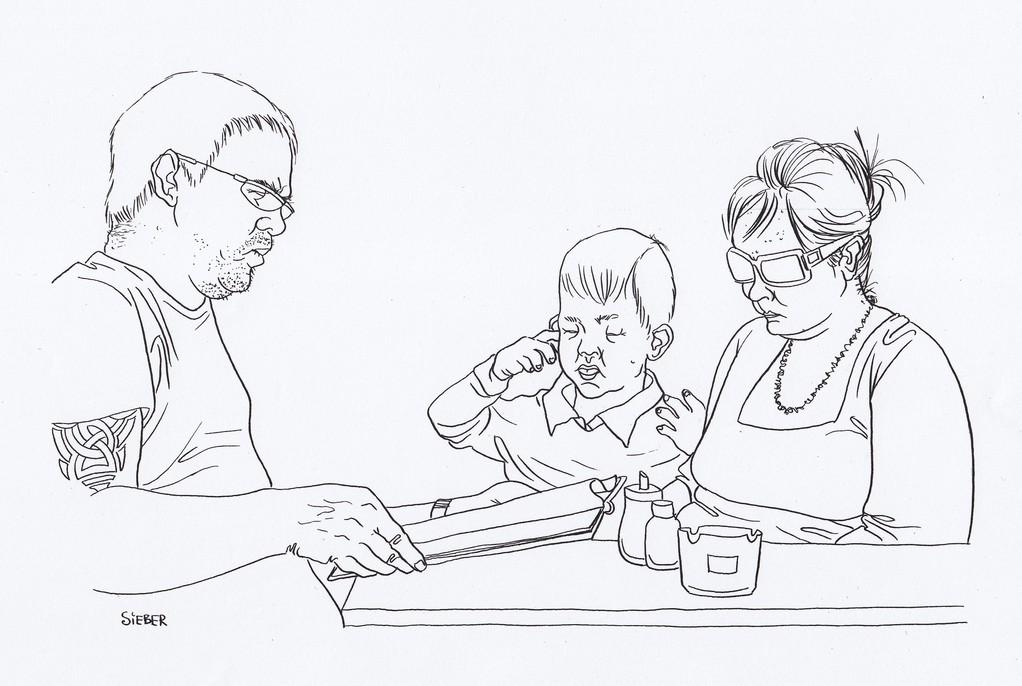 Zeichnung 178   Eltern   Tusche auf Karton ,2009,   30 x 40 cm