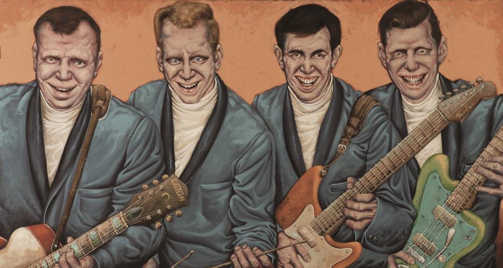 Gemälde 263  Rollkragengitarren   Acryl auf Leinw.,2010,   85 x 160 cm