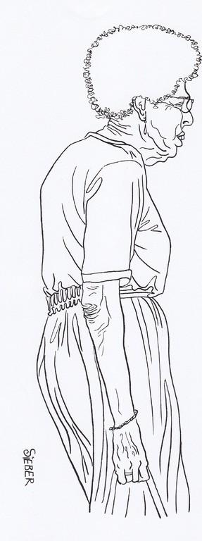 Zeichnung 216  Dauerwelle   Tusche auf Karton,2009,    24 x 34 cm