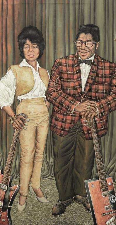 Gemälde 163  Bo & Co.  Acryl auf Leinw.,2007,  100 x 195 cm
