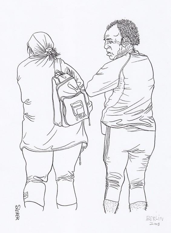 Zeichnung 90   Berlin sportlich   Tusche auf Karton,2008,   30 x  40 cm