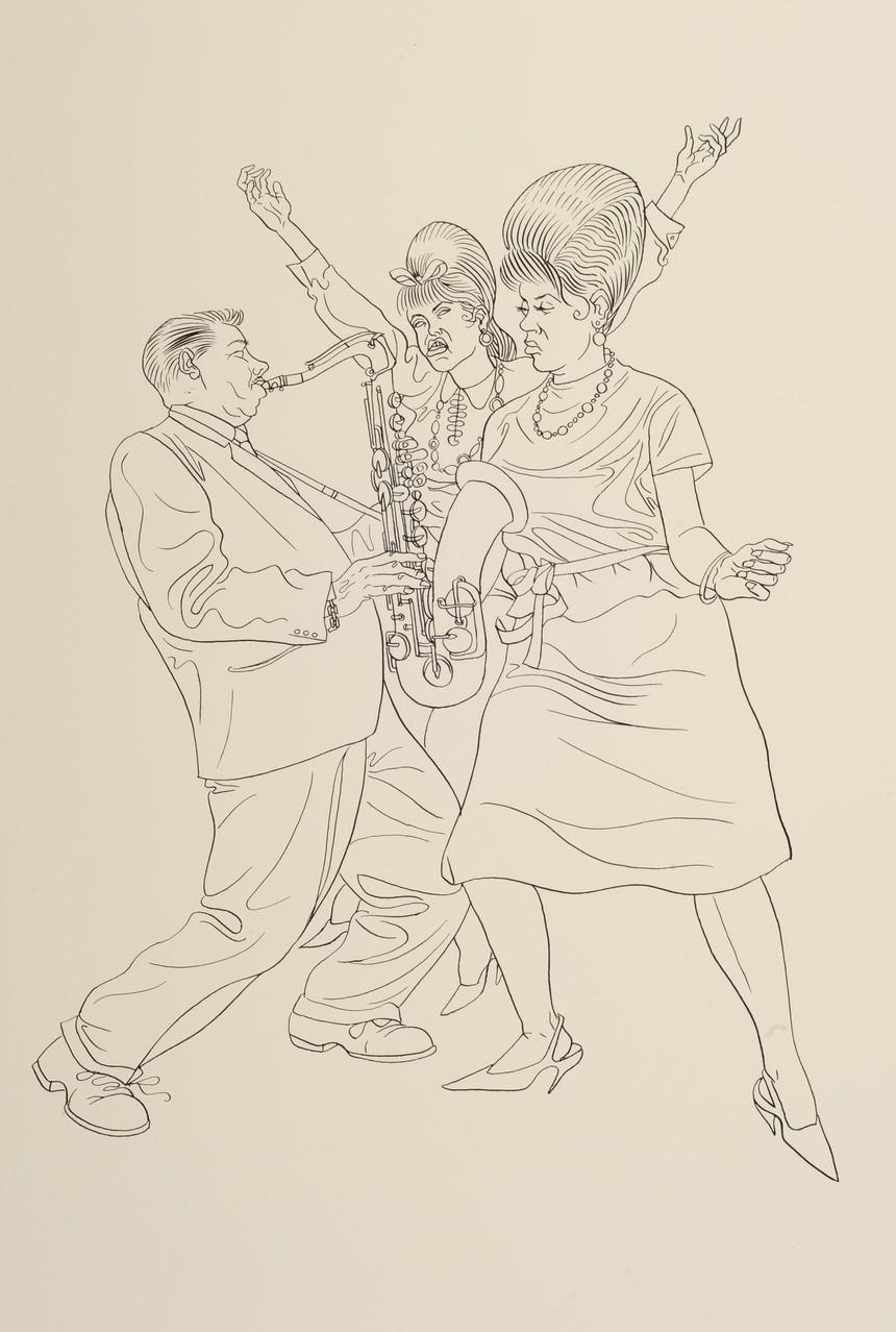 Zeichnung 140 Twister, Tusche auf Karton, 2009, 36 x 48 cm