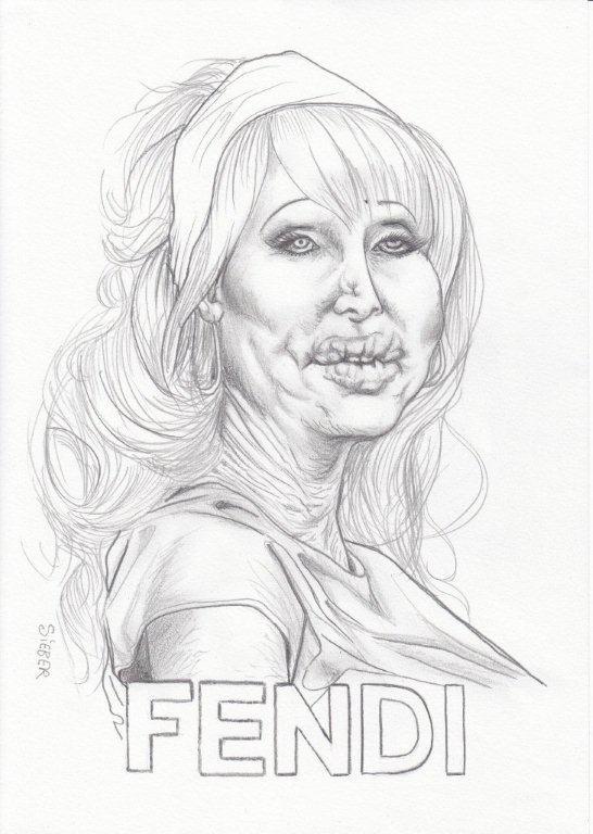 Zeichnung 448  Fendi  Graphit  auf Karton,2011,  21x30 cm